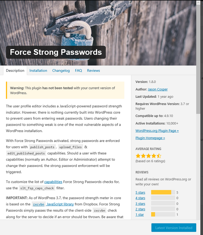 Force Strong Password WordPress Plugin