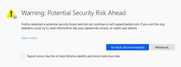 "'Warning: Potential Security Risk Ahead with MOZILLA_PKIX_ERROR_SELF_SIGNED_CERT"" Error in Firefox"