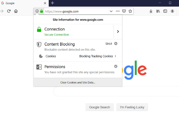 Graphic: Screenshot of Google.com viewed in Firefox, showcasing the HTTPS padlock.