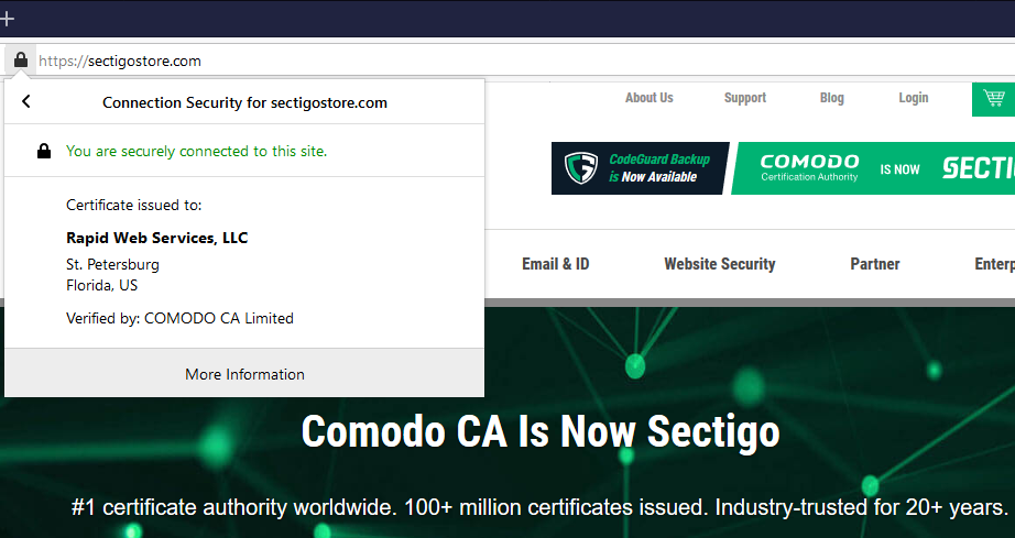 Graphic: A screenshot of SectigoStore.com and its verified company info on the SSL certificate.