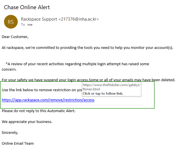 Graphic: HTTPS phishing example from an email