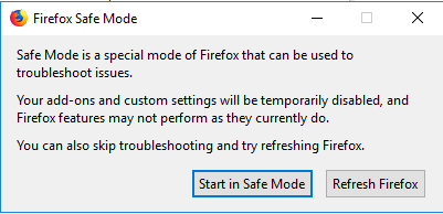 screenshot of the Firefox safe mode window