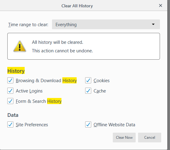 Screenshot of the Clear All History window