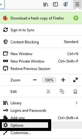 Screenshot of the Firefox menu