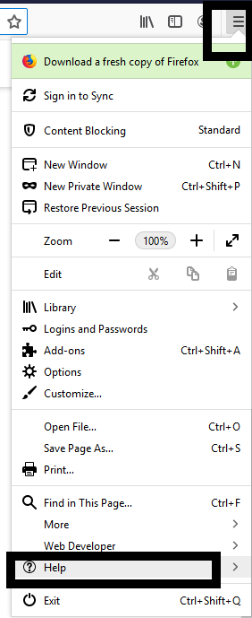 A screenshot of the Firefox menu with help selected