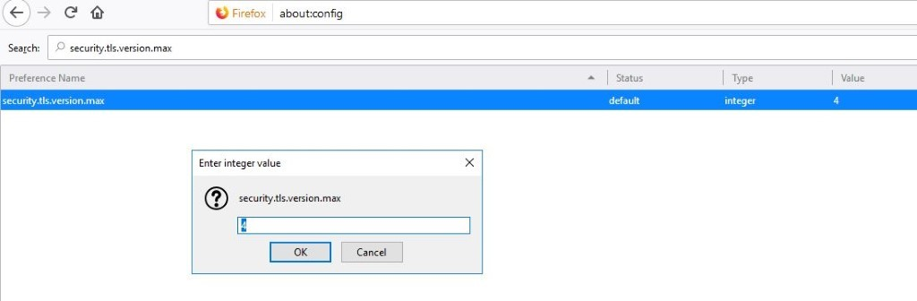 Screenshot of the about:config window in Firefox with a possible solution to fix the SSL_ERROR_RX_RECORD_TOO_LONG message