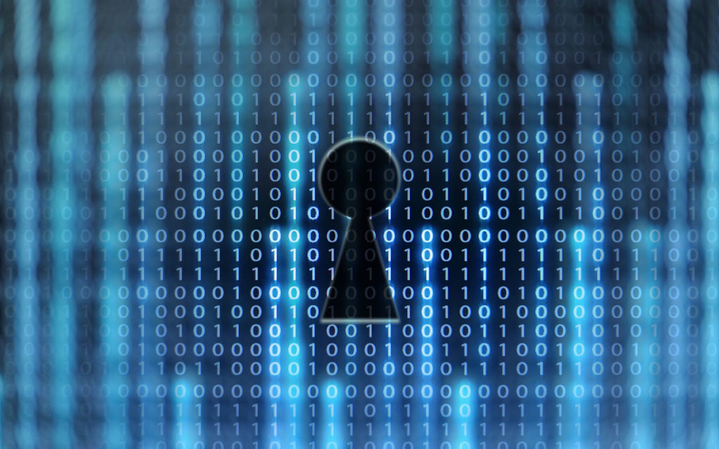 Cyber security issues in healthcare graphic: An illustration of data binary with a keyhole to represent security