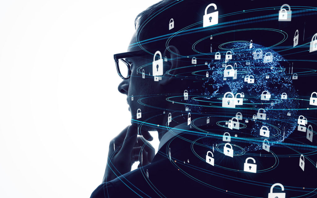 Cybersecurity challenges in healthcare graphic: An illustration of an employee with security knowledge swirling around in his head