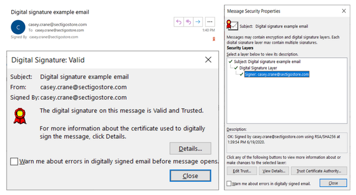 A combination of screenshots that showcase what an email signing certificate and digital signature look like