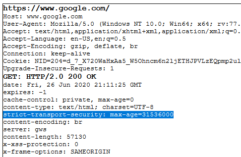 What is HSTS screenshot of Google.com's header information, including an example of HTTP strict transport security in action.