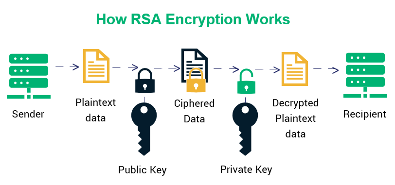 ECDSA vs RSA graphic that breaks down how RSA encryption works