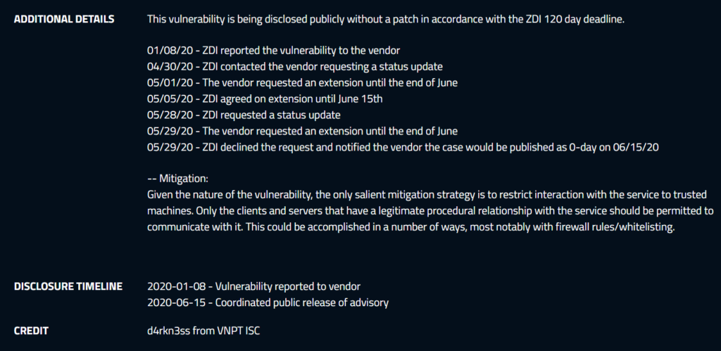 Screenshot of the information about the Netgear zero day vulnerabilities from the ZDI website.