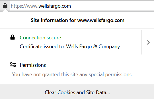 A screenshot of SSL validation information for Wells Fargo as an organization using an EV SSL certificate