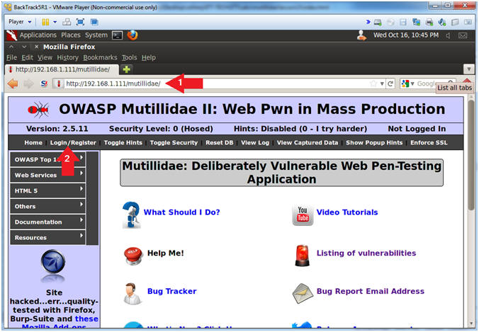 Screenshot of the OWASP Mutillidae II interface from computersecuritystudent.com
