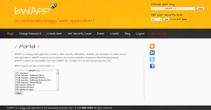 Screenshot of the BWAPP vulnerable web app website