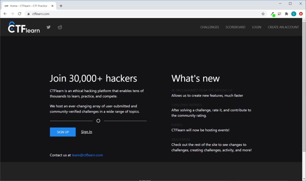 Screenshot of the CTFlearn vulnerable website for CTF contests
