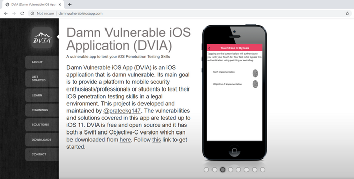 Screenshot of the DVIA vulnerable web app website