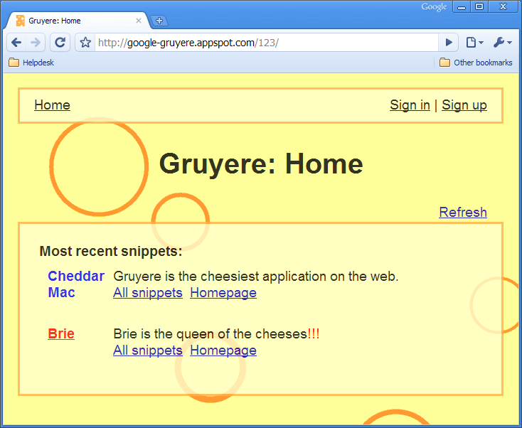Image of Google Gruyere from google-gruyere.appspot.com