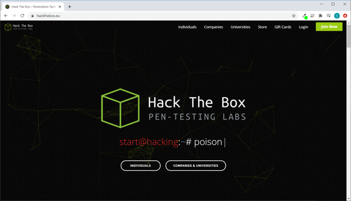 Screenshot of the HackTheBox online CTF platform