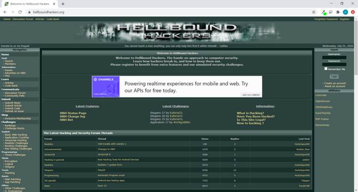 Screenshot from the Hellbound Hackers online community