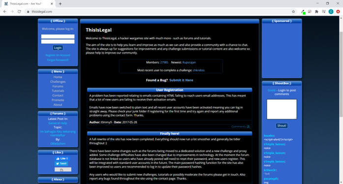 Screenshot of the ThisIsLegal website
