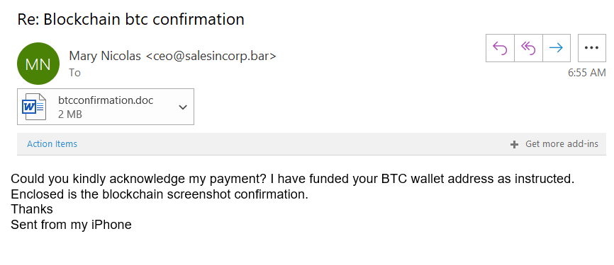 A screenshot of a BTC wallet phishing email