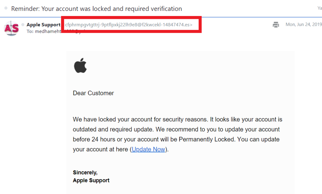 Different types of cyber attacks graphic: Example of an Apple phishing email