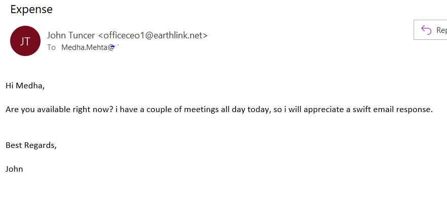 A screenshot of a fake email from a CEO