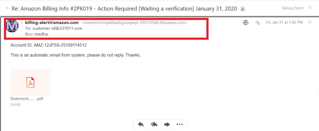 An example of an Amazon phishing email