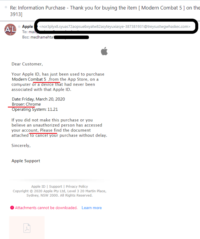 A screenshot of a fake email from Apple