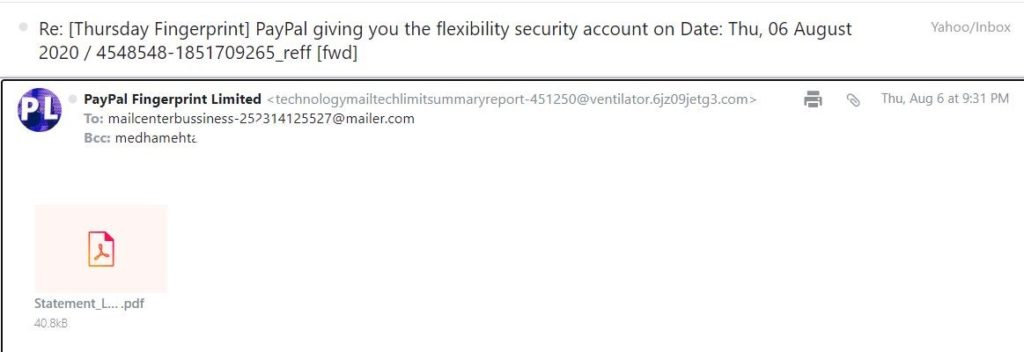 Screenshot from a PayPal phishing email