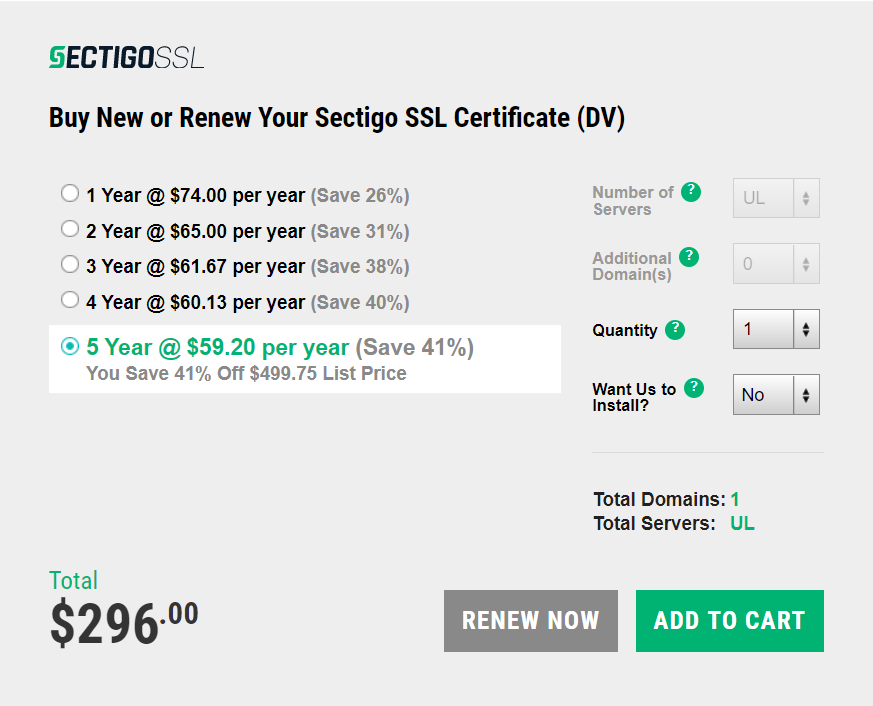 Screenshot of one of Sectigo's SSL/TLS certificate subscription plans in preparation of the industry's move to one year validity