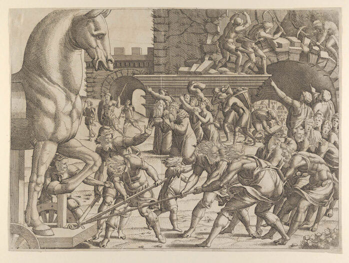 A public domain image of artwork depicting the trojan horse being brought into the city of Troy.