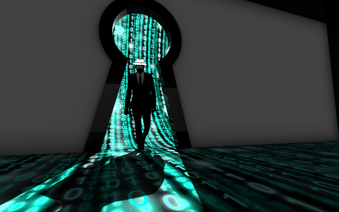 White hat hacker vs black hat hacker graphic: An illustration of a hacker in a white hat standing in the frame of a key lock with binary code flowing around him