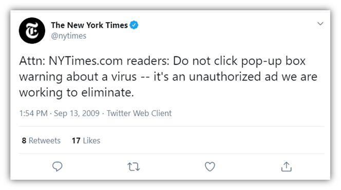A screenshot of a tweet from The New York Times' Twitter feed warning about malvertising