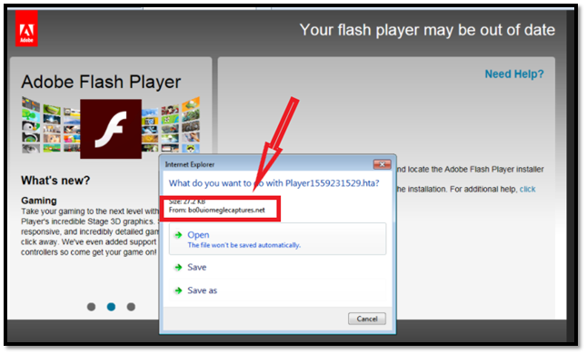 An example of a malvertisement that tries to look like a Flash Media Player  download