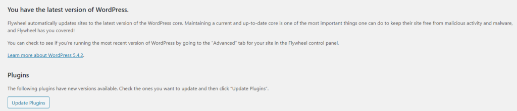 A screenshot of the WordPress dashboard that shows plugin updates are available.