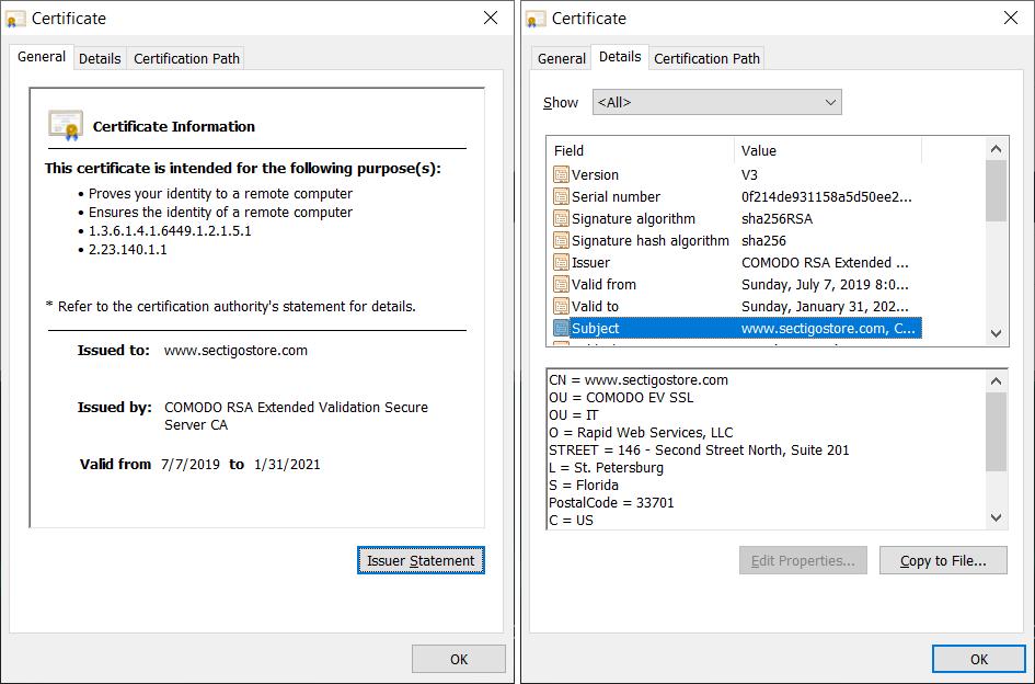 Two screenshots of X.509 certificate data for an SSL/TLS certificate