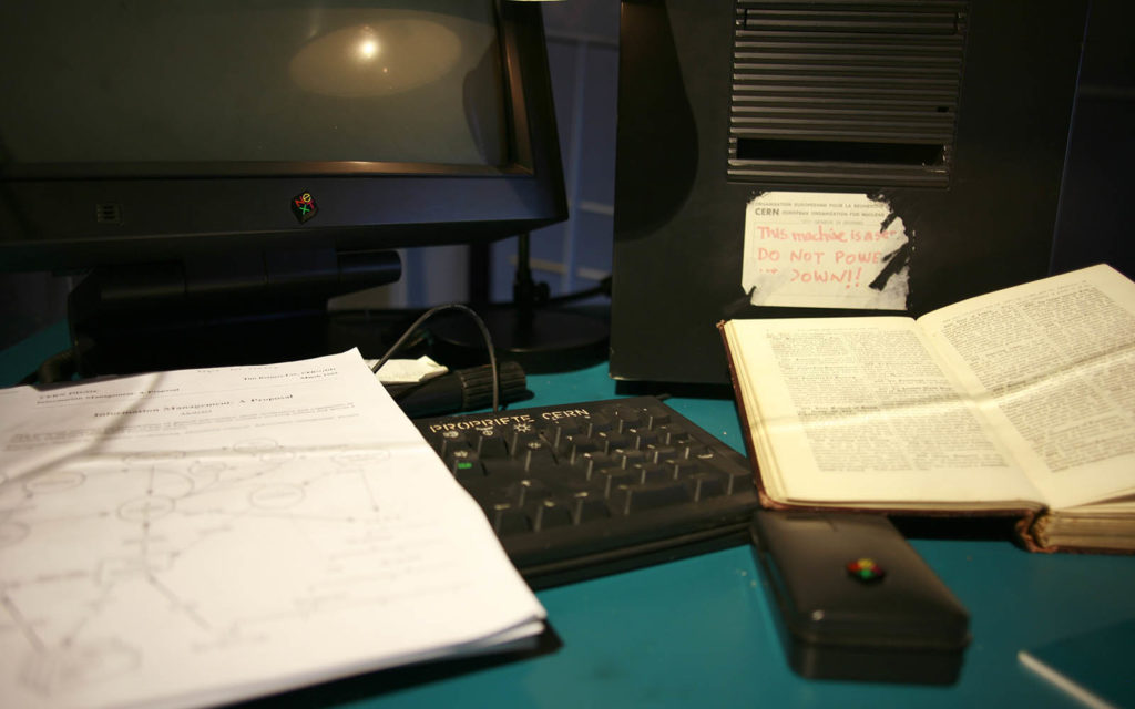 A web history image of the first web server at CERN. Image source: Robert Scoble from Half Moon Bay, USA / CC BY (https://creativecommons.org/licenses/by/2.0). Used via the WikiMedia Commons.