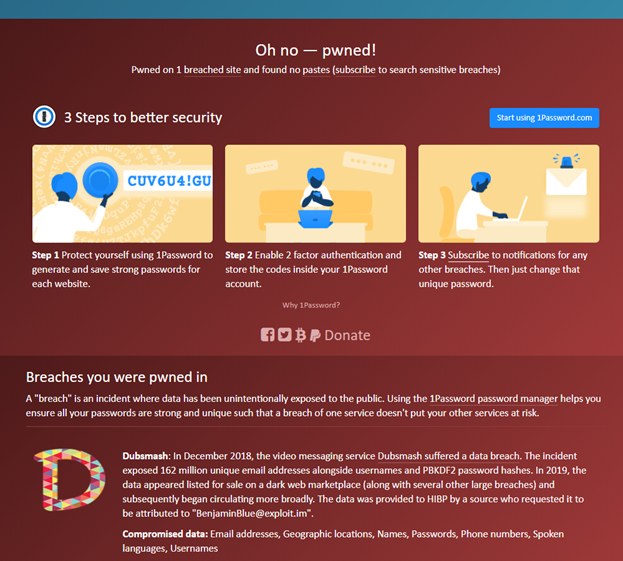 have I been hacked graphic shows how you can use haveibeenpwned to find out if your email has been part of any data breaches