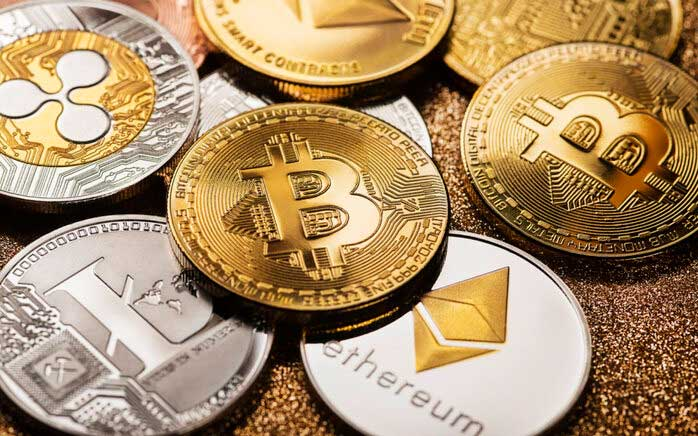 A stock image representing various types of cryptocurrencies