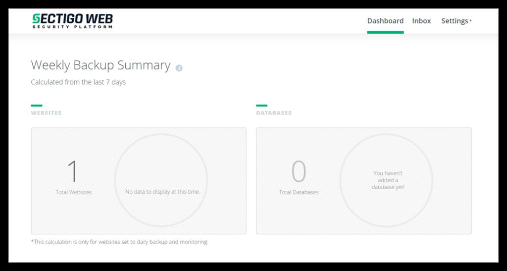 Incremental backup graphic: A screenshot of CodeGuard's administrative dashboard.