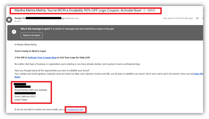 Spam vs phishing screenshot example of a spam email