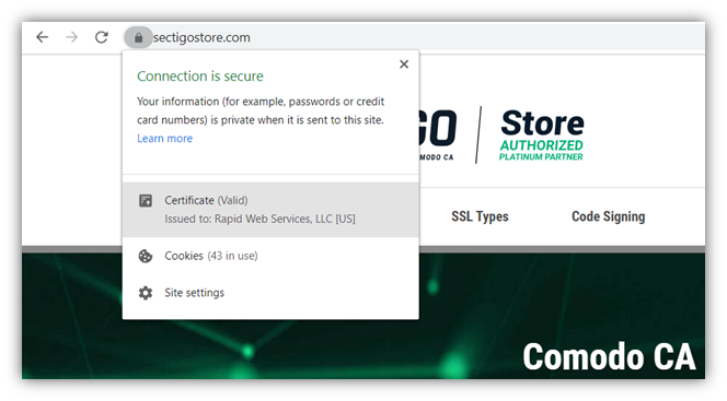 Asymmetric encryption makes website security possible - screenshot of the secure padlock icon and SSL/TLS certificate info