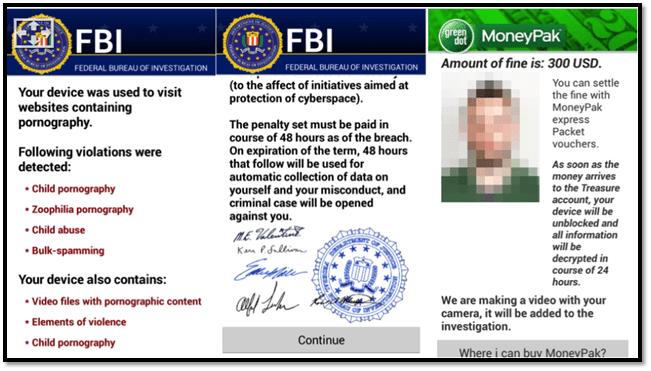 A screenshot of a ransomware warning message that's written to look like it came from the FBI