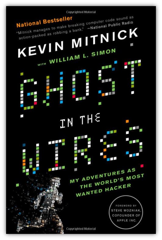 "Bug bounty training graphic: a screenshot of the book cover of ""Ghost In The Wires"""