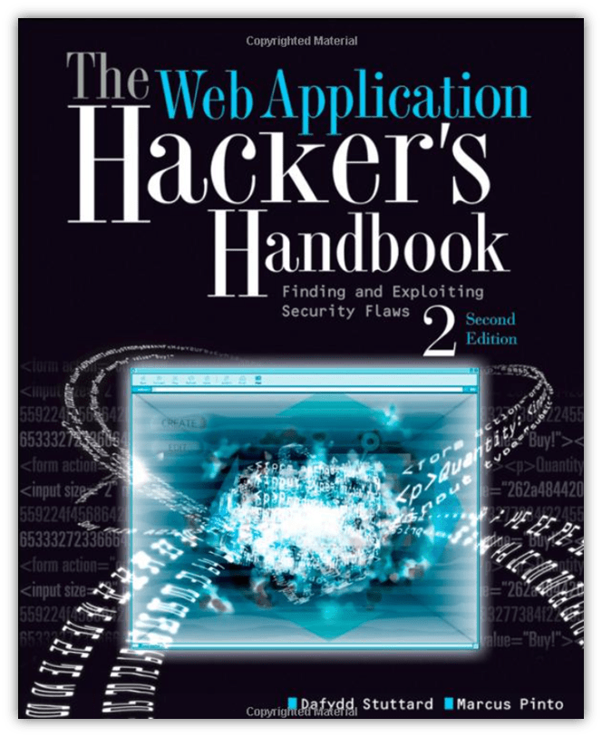 "bug bounty training graphic: a screenshot of the book cover for ""The Web Application Hacker's Handbook"""