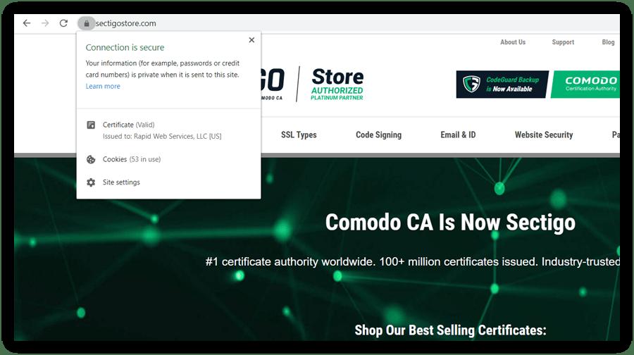 Securing a website graphic: Screenshot of the sectigostore.com certificate information