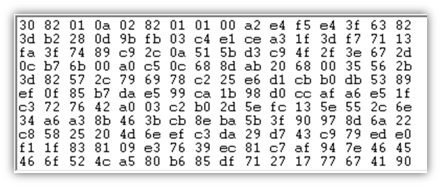 Public key vs private key graphic: A screenshot of a public key, which is a long string of random and unpredictable characters and numbers