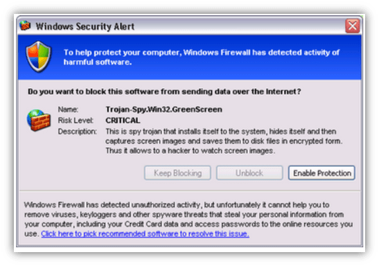 Scareware examples graphic: A screenshot of a fake Windows Security Alert